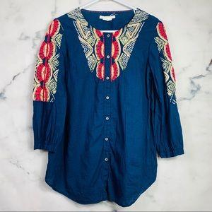 Anthropologie Hei Hei Agonda Embroidered Tunic